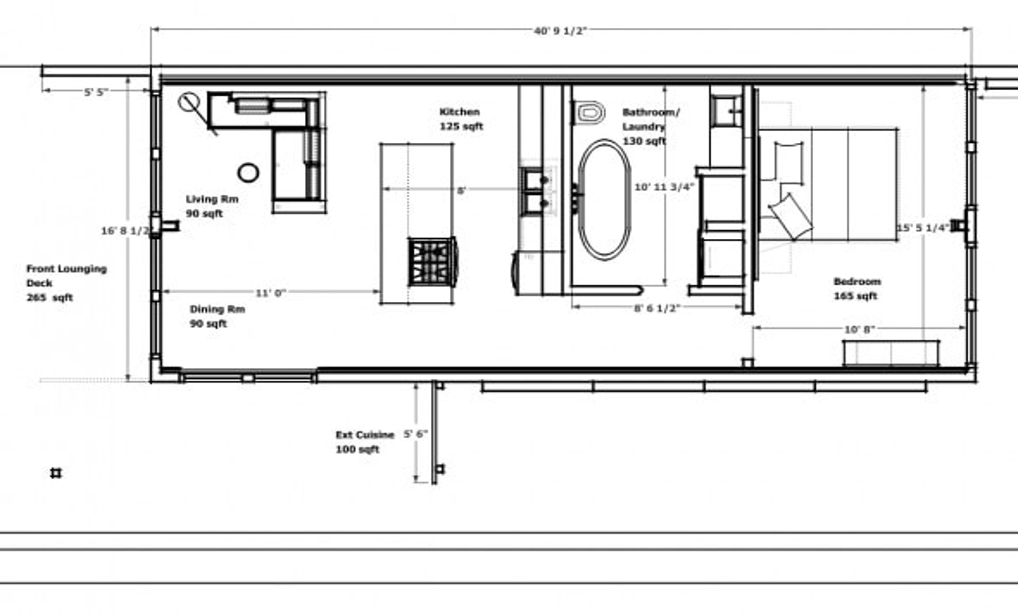 Plano casa contenedor de 1 habitación